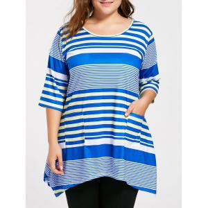 Plus Size Pocket Long Stripe Swing T-shirt