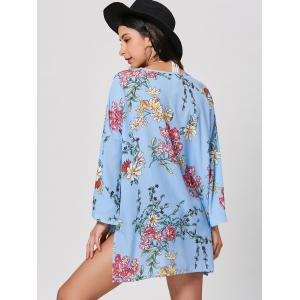Bell Sleeve Floral Tunic Kimono - WINDSOR BLUE XL