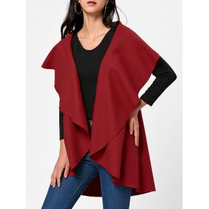 Open Front Wool Blend Sleeveless Cape - Red - One Size