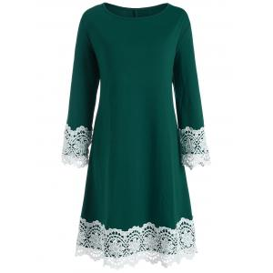 Floral Crochet Knee Length Tunic Plus Size Dress
