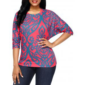 Half Sleeve Damask Print Top - Red - S