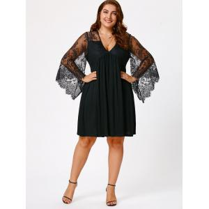 Plus Size Lace Sleeve Holiday Dress - BLACK 2XL