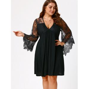 Plus Size Lace Sleeve Holiday Dress - BLACK 3XL