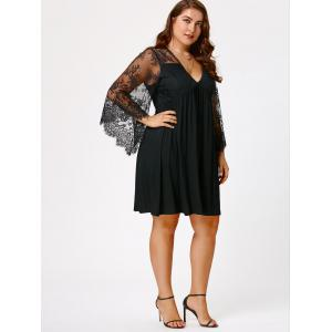Plus Size Lace Sleeve Holiday Dress - BLACK 4XL