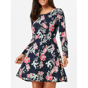Floral Print Long Sleeve Skater Dress - Black - S