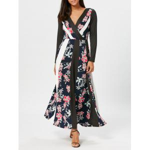 Floral Print Panel Surplice Maxi Dress