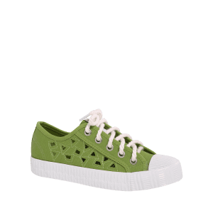 Hollow Out Canvas Athletic Shoes - GREEN 39