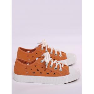 Hollow Out Canvas Athletic Shoes - ORANGE 40