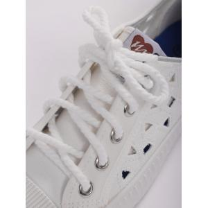 Hollow Out Canvas Athletic Shoes - WHITE 40