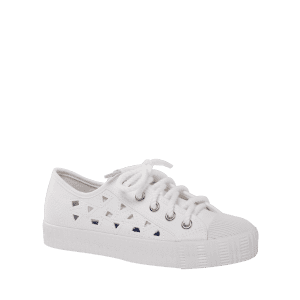 Hollow Out Canvas Athletic Shoes - Blanc 38
