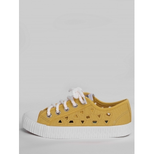 Hollow Out Canvas Athletic Shoes - YELLOW 39