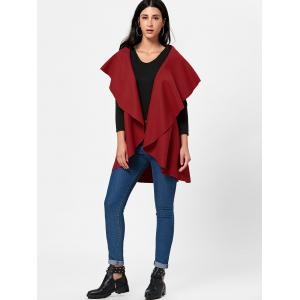 Open Front Wool Blend Sleeveless Cape - RED ONE SIZE