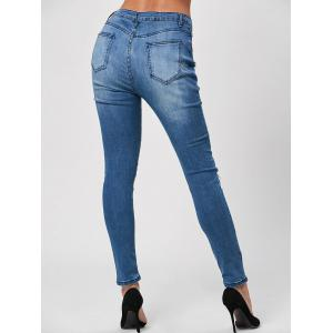 Whisker Wash Distressed Skinny Jeans - BLUE S