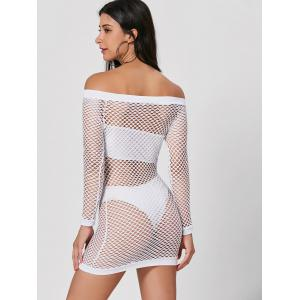 Long Sleeve Off The Shoulder Sheer Dress - WHITE XL