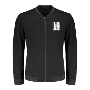 Lettre Brodé Zippered Baseball Jacket - Noir 2XL