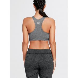 Elastic Padded Racerback Sports Bra - GRAY L