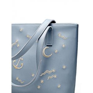 Embroidery Faux Leather Shoulder Bag - BLUE