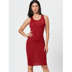 Sexy Scoop Neck Sleeveless Bodycon Solid Color Women's Dress - WINE RED M