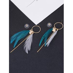 Natural Feather Link Chain Circle Drop Earrings -