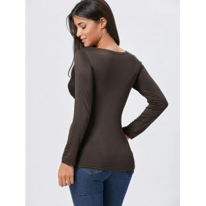 Front Knot Slit Plunging Neckline T-shirt - COFFEE M