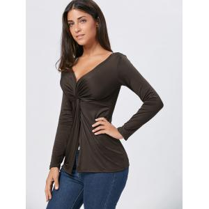 Front Knot Slit Plunging Neckline T-shirt - COFFEE XL