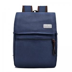 Zippers Canvas Double Pocket Backpack - BLUE
