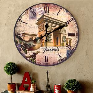 Triumphal Arch Analog Round Wood Wall Clock -