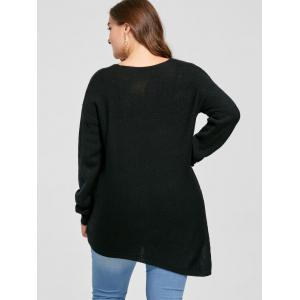 Plus Size Side Slit V Neck Asymmetric Sweater - BLACK 3XL