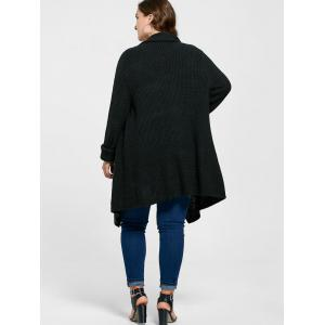 Plus Size Longline Ribbed Drape Cardigan -