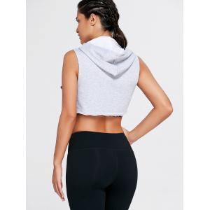 Sports Sleeveless Hooded Crop Top - GRAY S