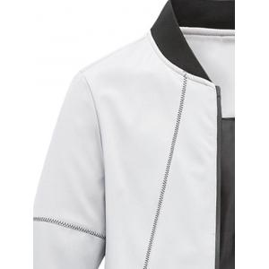 Suture Panel Stand Collar Zip Up Jacket - GRAY L