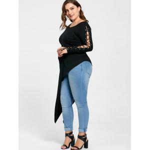 Plus Size Lace Up Batwing Sleeve Asymmetric Top - BLACK 2XL