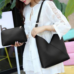 PU Leather Two Pieces Shoulder Bag Set - BLACK