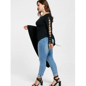 Plus Size Lace Up Batwing Sleeve Asymmetric Top -