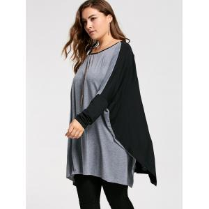 Color Block Plus Size Long Sleeve Poncho T-shirt -