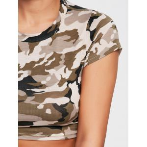 Sports Camouflage Crew Neck Ripped Crop T-shirt -