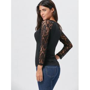 Long Sleeve Lace Insert T-shirt -