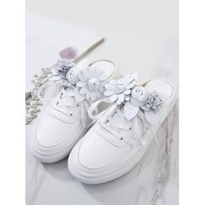 Flowers Tie Up Flat Shoes -