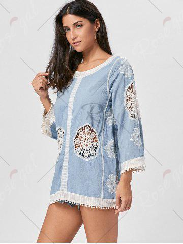 Store Fringed Hollow Out Floral Crochet Blouse - ONE SIZE BLUE Mobile