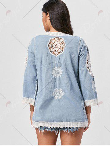 Shop Fringed Hollow Out Floral Crochet Blouse - ONE SIZE BLUE Mobile
