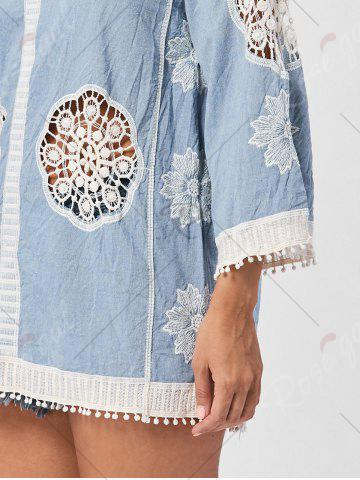 Hot Fringed Hollow Out Floral Crochet Blouse - ONE SIZE BLUE Mobile