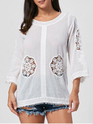 Cheap Fringed Hollow Out Floral Crochet Blouse - ONE SIZE WHITE Mobile