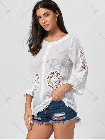 New Fringed Hollow Out Floral Crochet Blouse - ONE SIZE WHITE Mobile