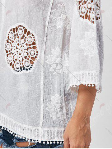 Shop Fringed Hollow Out Floral Crochet Blouse - ONE SIZE WHITE Mobile