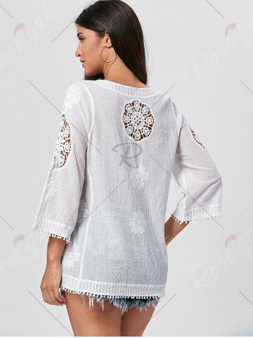 Trendy Fringed Hollow Out Floral Crochet Blouse - ONE SIZE WHITE Mobile