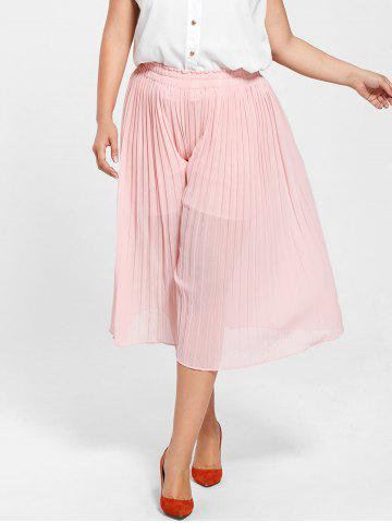 Unique Pleated Wide Leg Plus Size Pants LIGHT PINK 2XL