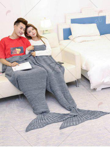 Affordable Super Soft Knitted Mermaid Blanket For Lovers - 180*155CM GRAY Mobile