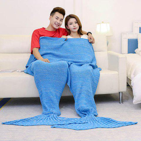 Unique Super Soft Knitted Mermaid Blanket For Lovers ICE BLUE 180*155CM