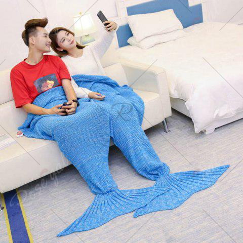 Outfits Super Soft Knitted Mermaid Blanket For Lovers - 180*155CM ICE BLUE Mobile