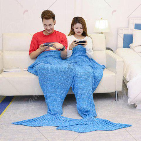 Discount Super Soft Knitted Mermaid Blanket For Lovers - 180*155CM ICE BLUE Mobile